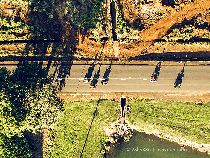 Drone Mauritius - Bikers Shadows at Medine