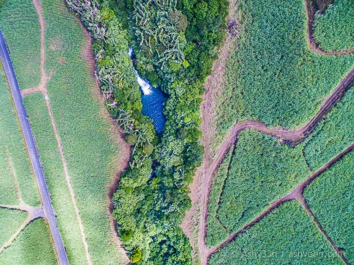 Eau Bleue Mauritius-Waterfall 3 Drone View