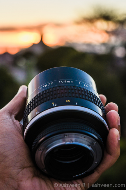 In the Hands, the Nikon 105mm F1.8 Ai-S