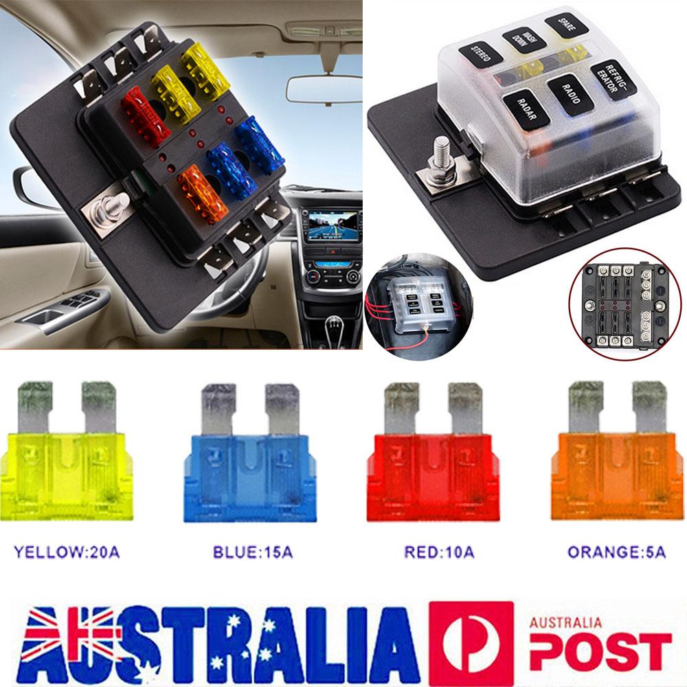 medium resolution of au 6 way blade fuse box block led indicator positive negative fr 32v car marine