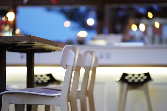 Two empty chairs in a cafe