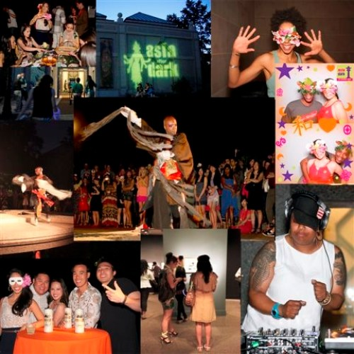 Eight photos in a square - showing people in masks, dancers, guests at a table, DJ, and front of museum.