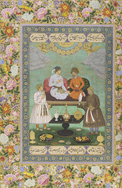 Intricately floral boarder, with scene of Mughal emperor entertaining a guest, seated before a spread of fruit.
