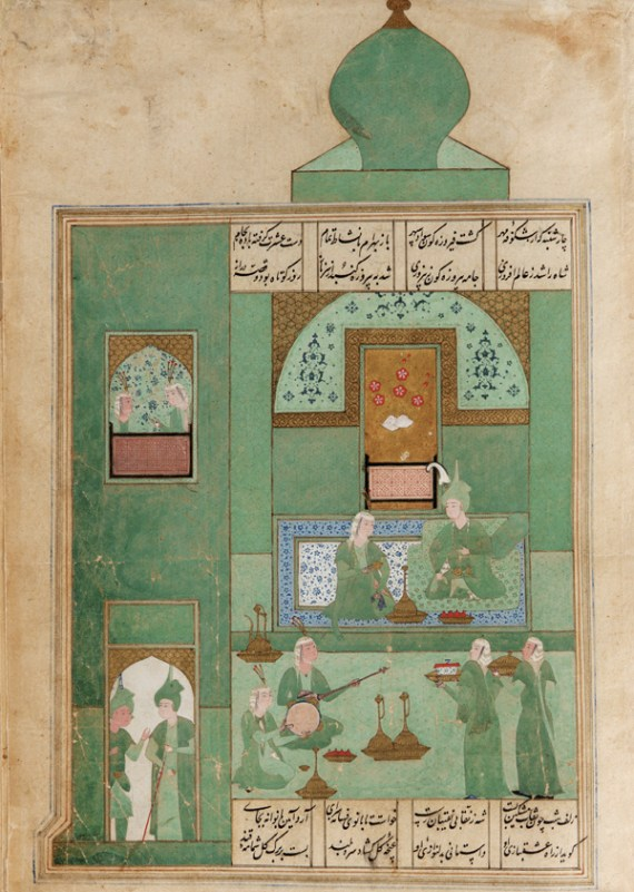 Folio from a Khamsa by Nizami, Bahram Gur in the turquoise-blue pavilion on Wednesday; Safavid period Iran, 1548
