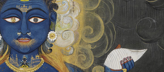 Vishnu Vishvarupa India, Rajasthan, Jaipur, ca. 1800–1820 Opaque watercolor and gold on paper, 38.5 x 28 cm Victoria and Albert Museum, London, Given by Mrs. Gerald  Clark, IS.33-2006