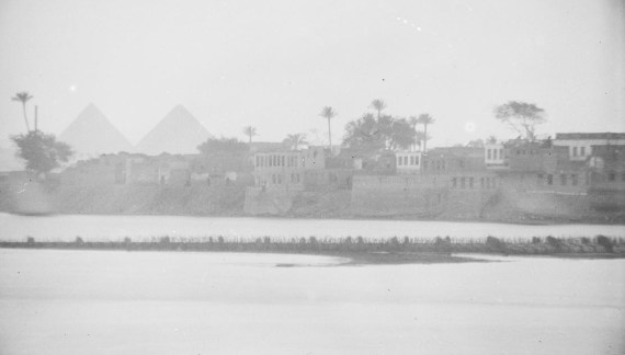 Photograph of the Nile River with the Pyramids of Giza in the background, taken by Ernst Herzfeld in 1908, Freer Gallery of Art and Arthur M. Sackler Gallery Archives, FSA A.6 04.GN.3241