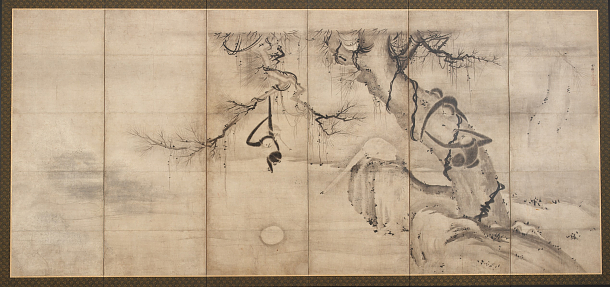 Monkeys and Trees on a Riverbank, by Sesson (1504–1589); Japan, Momoyama period, 1568–1615; ink on paper; Gift of Charles Lang Freer, F1903.218–19