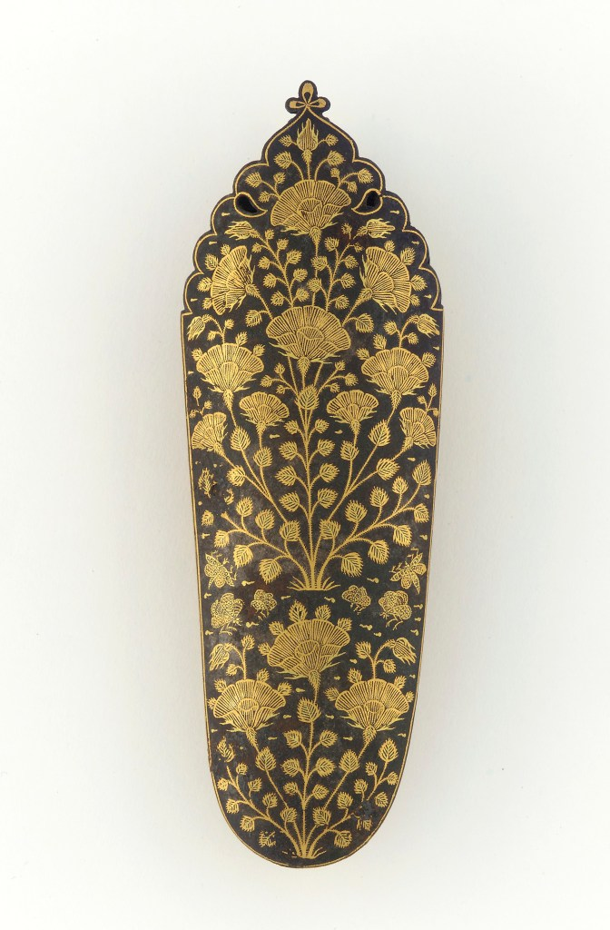 Chape of a scabbard; India, Mughal dynasty, 17th century; iron inlaid with gold; H: 11.2, W: 3.8, D: 1.6 cm; Purchase—Misses Rajinder and Narinder Keith in honor of Mahinder Singh Keith, F1994.5