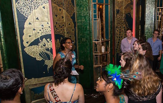 """Visitors take a tour of """"Peacock Room REMIX"""" during Asia After Dark."""