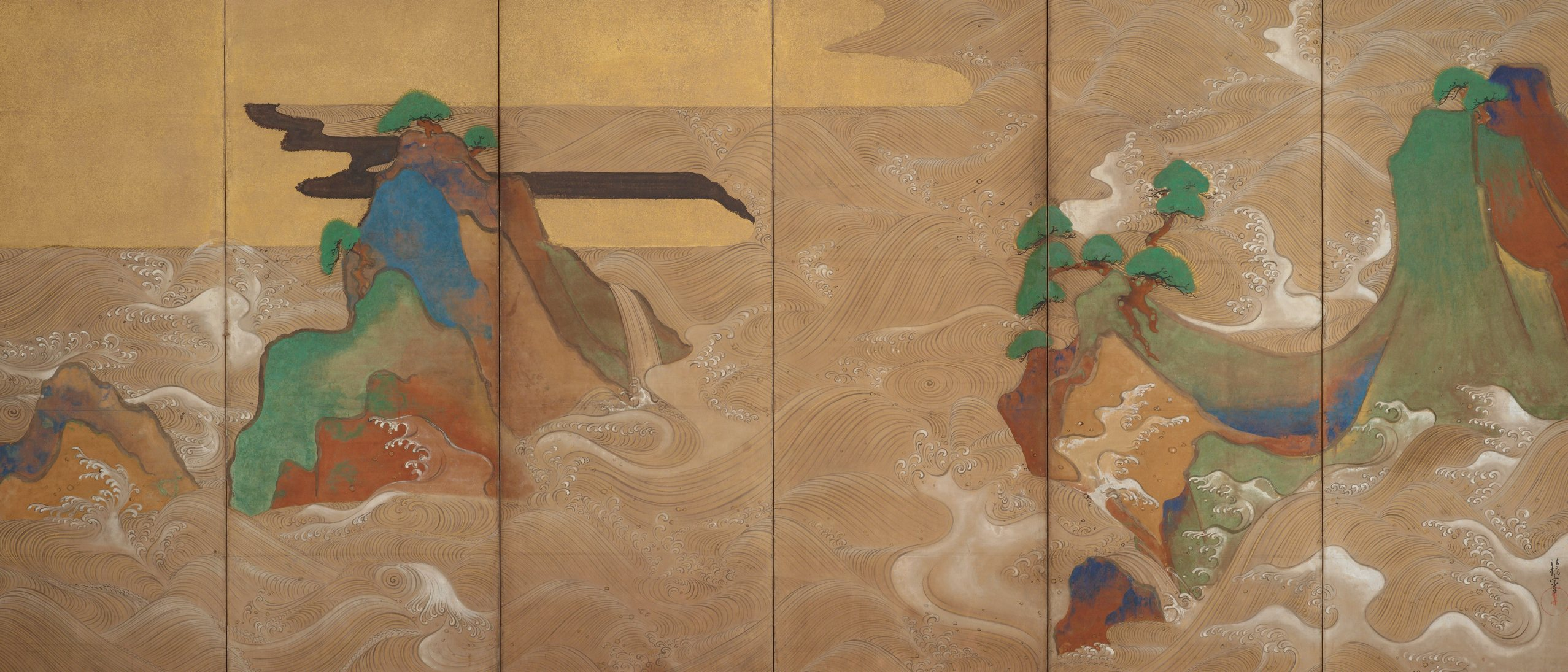 Detail, Waves at Matsushima 松島図屏風