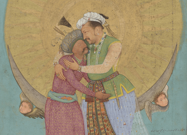 Detail, Emperor Jahangir Embracing Shah Abbas of Persia; folio from the St. Petersburg Album; signed by Abu'l Hasan (act. 1600–30); India, Mughal dynasty, ca. 1618; opaque watercolor, ink, silver, and gold on paper Freer Gallery of Art, Purchase, F1945.9