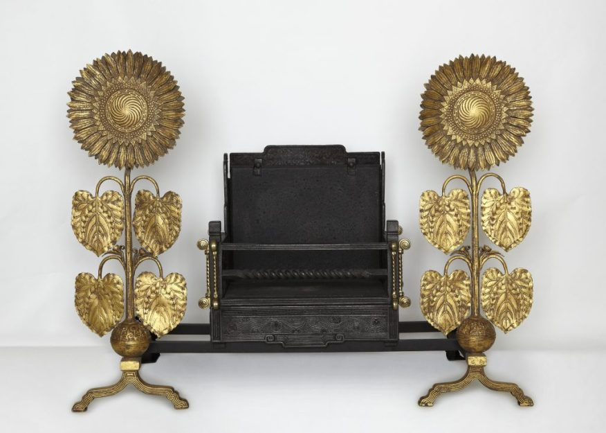 Sunflower andirons; designer: Thomas Jeckyll (1827–1881), manufacturer: Barnard, Bishop, & Barnards; England, Norwich, ca. 1878–84; iron with gilding; Purchase, Freer Study Collection, FSC-M-66a–b