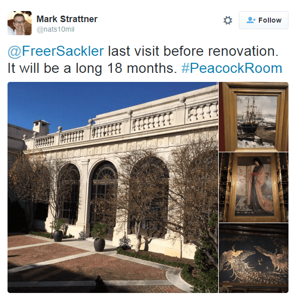"Instagram composite of the Freer Courtyard with Whistler Paintings. ""Last visit before renovation. It will be a long 18 months."""