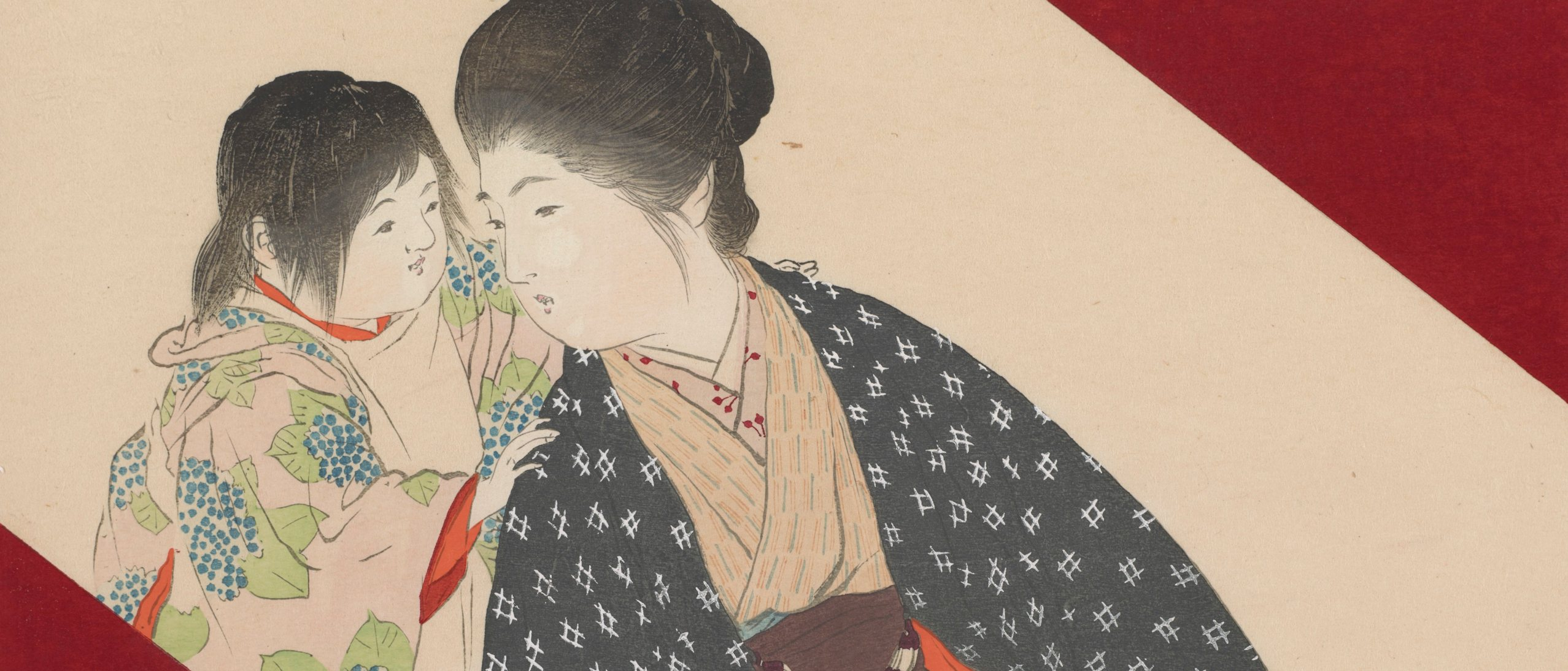 detail of woodblock print of woman and child