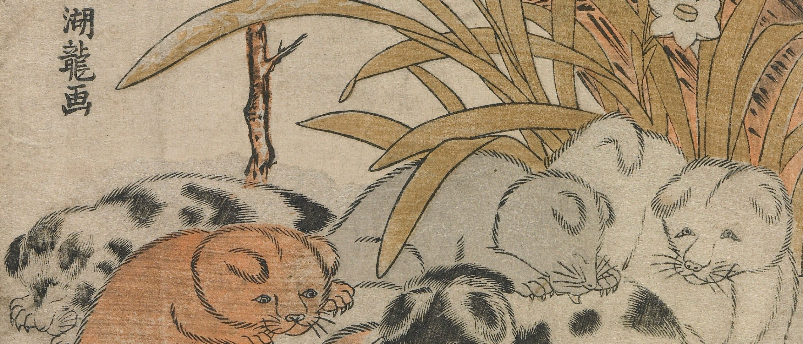 Woodblock print of puppies in the snow