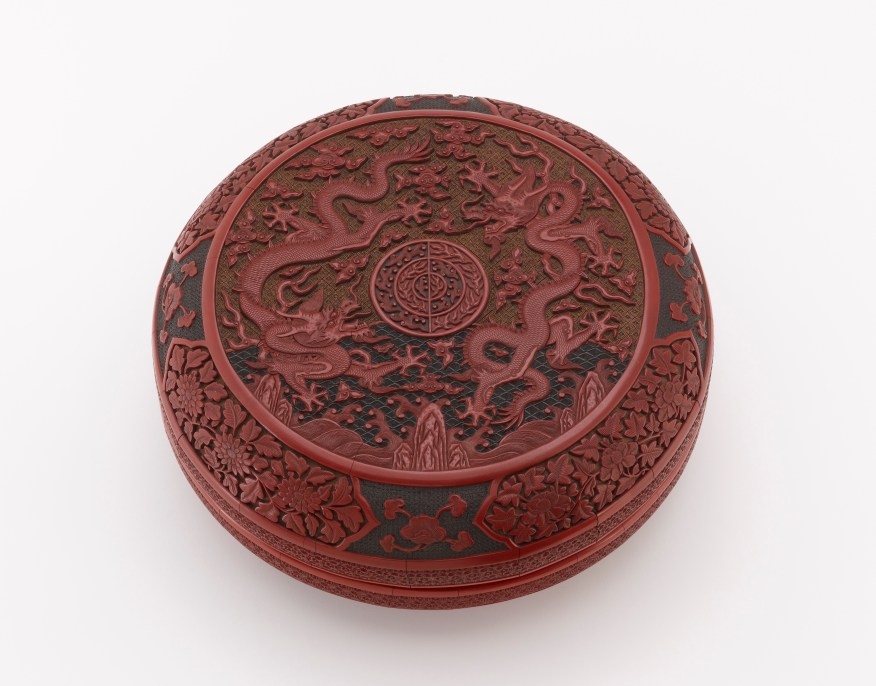 Round box with dragon and flower; China, Ming dynasty, Wanli reign, 1590s; carved red, black, and yellow lacquer (ticai) on wood core; Purchase—Charles Lang Freer Endowment, F1953.63a–b