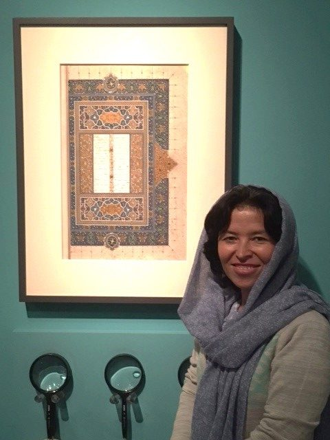 Sughra Hussainy with her artwork.
