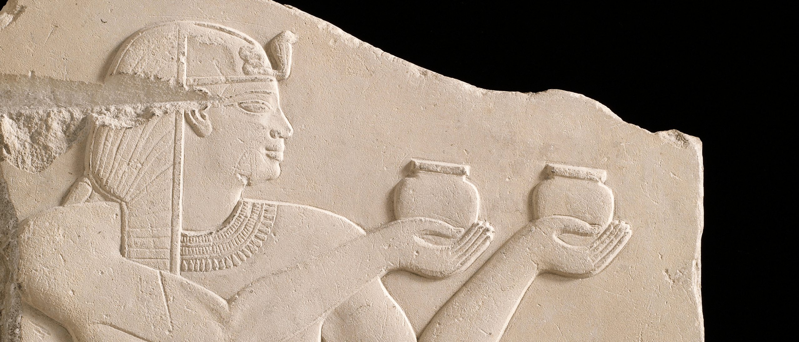 Plaque depicting a king offering wine; Egypt, possibly Ptolemaic dynasty, 305–30 BCE; soft limestone; Gift of Charles Lang Freer; Freer Gallery of Art, F1909.142