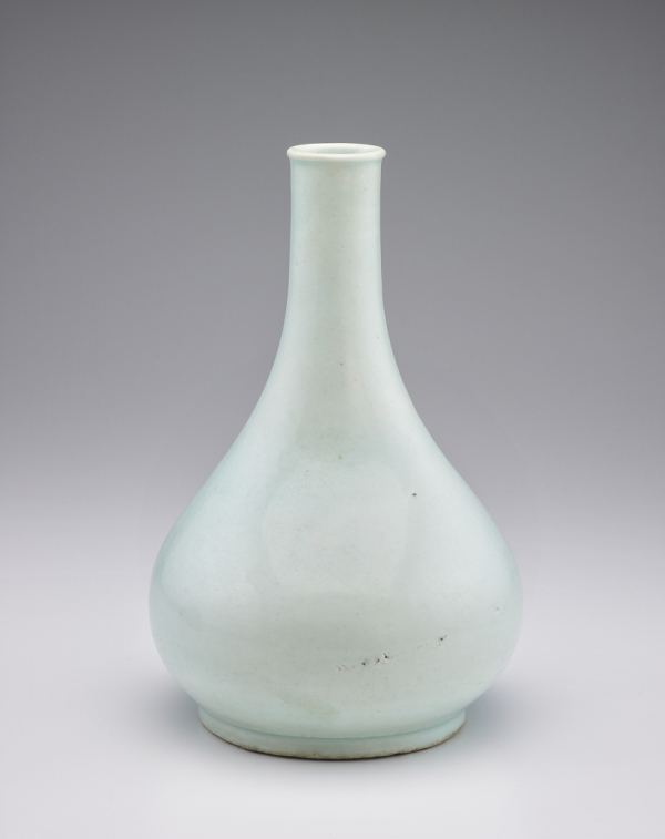Bottle; Korea, late 18th–19th century; Bunwon ware; porcelain with transparent, pale blue glaze; Gift of Graenum and Emma Berger and Elizabeth Lee Berger in memory of Ambassador Samuel D. Berger; F1980.188