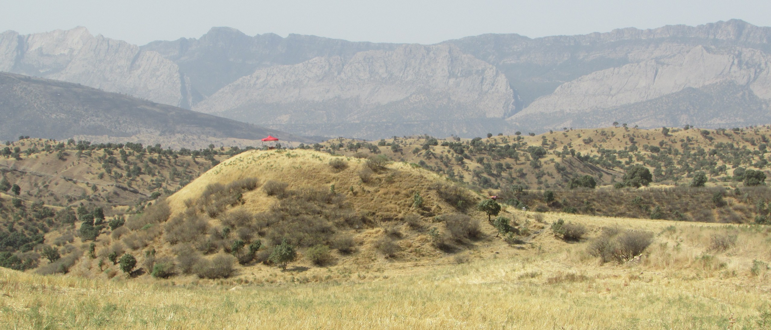 An open structure with a bright red roof stands atop a hill amid grassy planes, mountains rising high over the horizon.