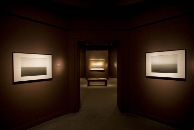 "An installation shot from the exhibition, ""Seascapes: Tryon and Sugimoto,"" Arthur M. Sackler Gallery, 2009"