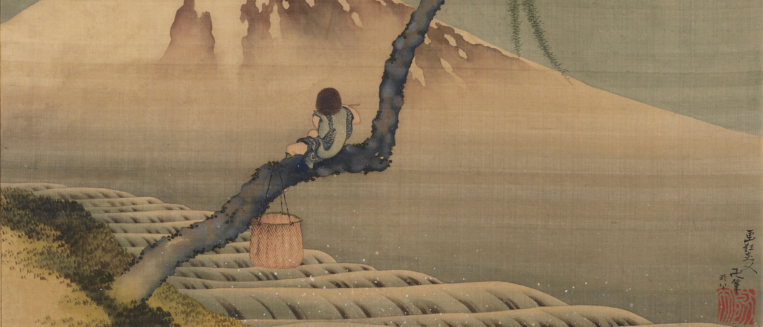 Detail image, Boy Viewing Mount Fuji; Katsushika Hokusai 葛飾北斎 (1760 - 1849); Japan, Edo period, 1839; Hanging scroll; ink and color on silk; Gift of Charles Lang Freer; Freer Gallery of Art F1898.110