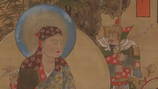 Detail image, sitigarbha Bodhisattva 南無地藏菩薩像; Hanging scroll (mounted on panel); Northern Song dynasty, late 10th-early 11th century; Ink, color, and gold on silk; China, Dunhuang; Purchase — Charles Lang Freer Endowment; Freer Gallery of Art F1935.11