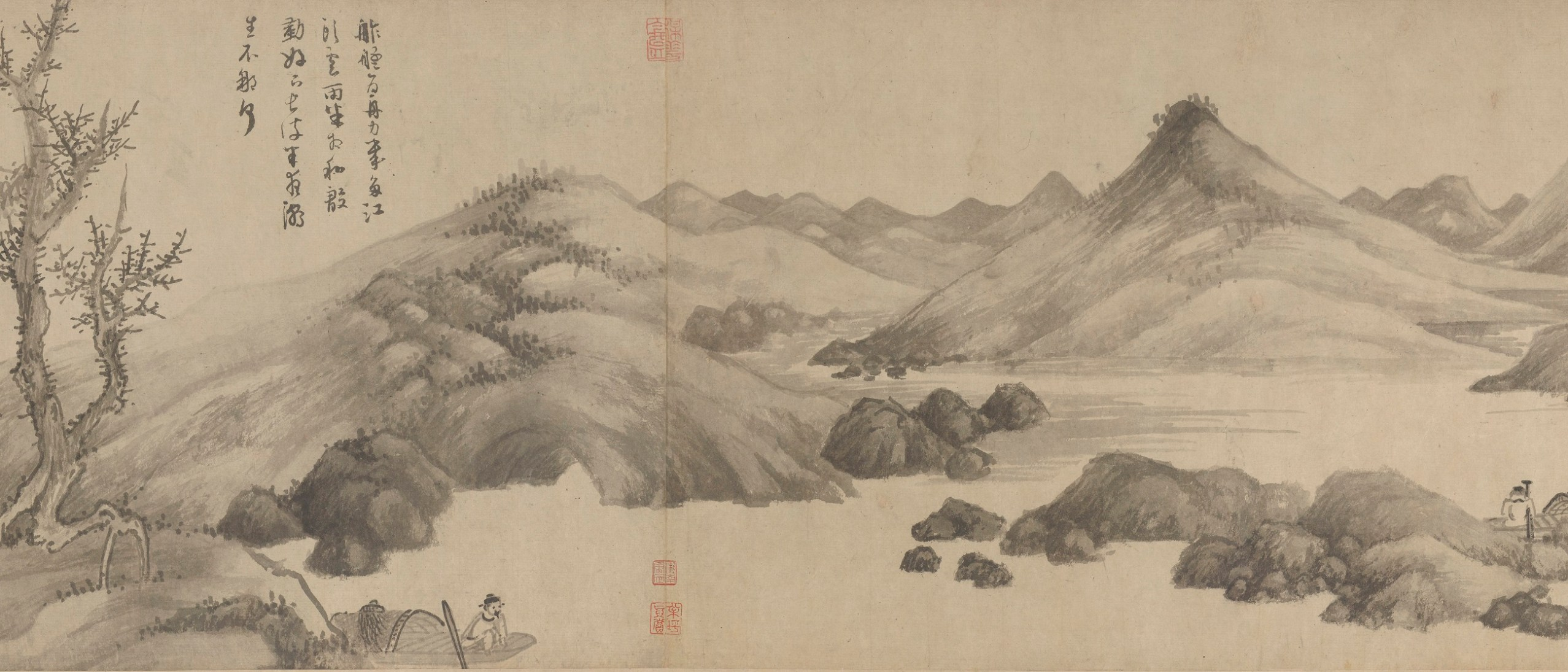 Detail image, Fishermen, after Jing Hao 仿荊浩〈漁父圖〉; Wu Zhen 吳鎮 (1280-1354); China, Yuan dynasty, ca. 1341; Handscroll; ink on paper; Purchase; F1937.12
