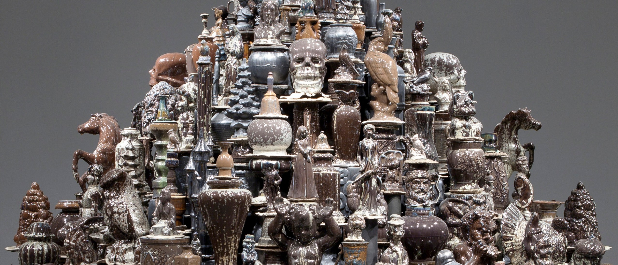 Detail, Walter McConnell, A Theory of Everything: Dark Stupa, 2014. Porcelain, 264.2 × 284.5 cm. Photo courtesy Cross MacKenzie Gallery, Washington, DC. image
