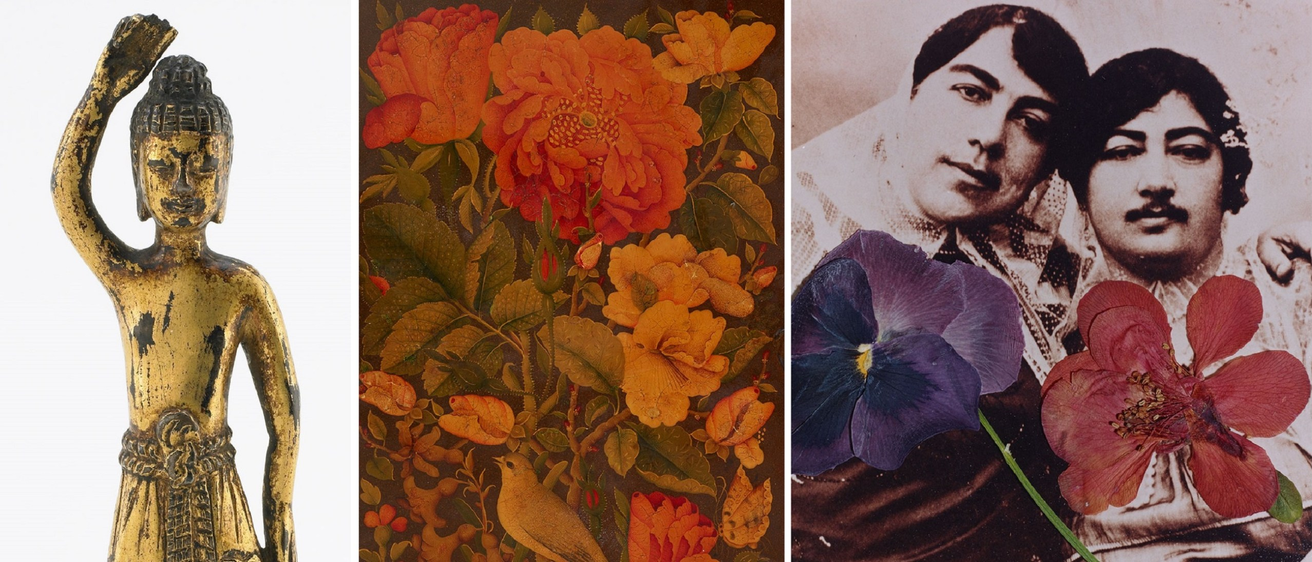 Right, detail image, The Buddha at Birth, F2005.9a–b; Detail, mirror case, RLS2014.9.157; Center, detail image, Untitled, from Flowers in the Image of Imagination series, S2013.9; Left, detail image, mirror case, RLS2014.9.157