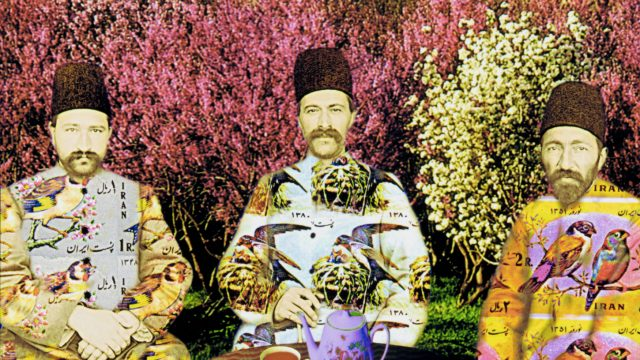 detail from Untitled (Three Uncles) from the series, Updating a Family Album by Malekeh Nayiny