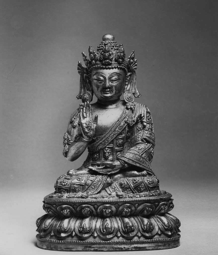Photo, Gilt bronze Amoghasiddha. Ming dynasty, 15th century., H: 16.5 cm. (6 1/2 in.) Singer catalogue number: [1690].