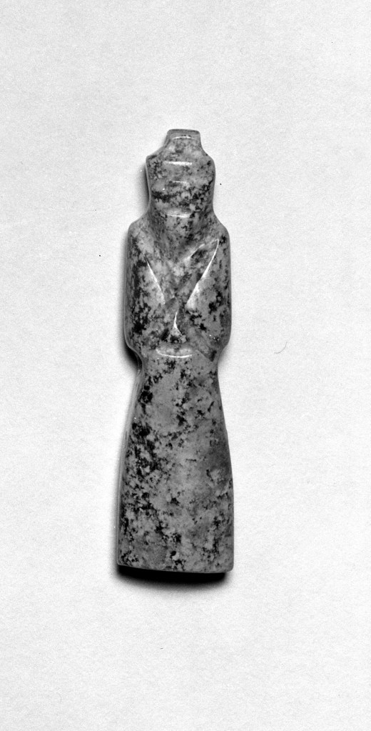 Photo, Jade figure pendant. Date unknown., H: 4.6 cm. (1 3/16 in.). Singer catalogue number: [748].