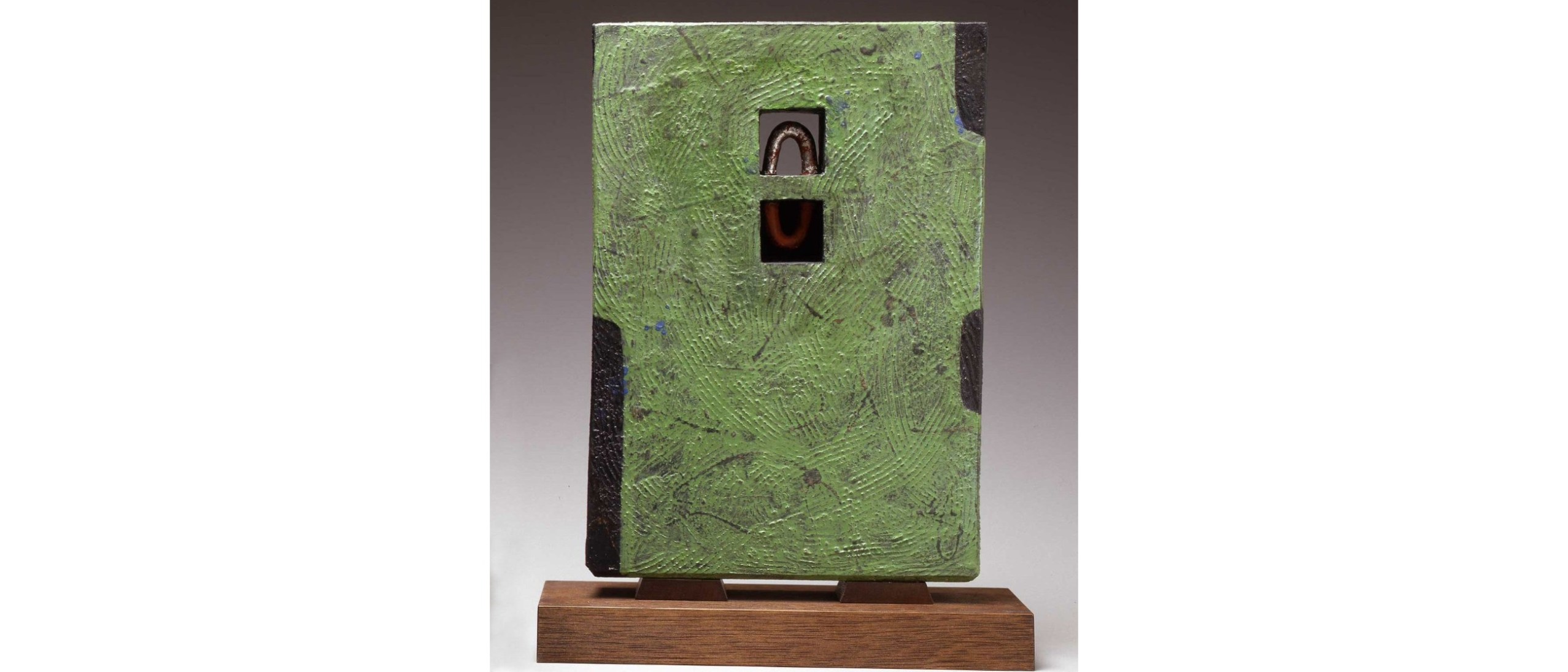 Photo of Verdant Reflections (Ryokuei); Morino Hiroaki Taimei (b. 1934); Japan, Kyoto, Heisei era, 2004; Glazed stoneware on wooden bases; wooden boxes signed and sealed by the artist; Formerly in the Halsey and Alice North Collection, New York, NY; Purchase with funds from Victor and Takako Hauge; Arthur M. Sackler Gallery purchase with funds from Victor and Takako Hauge, S2017.11a–c