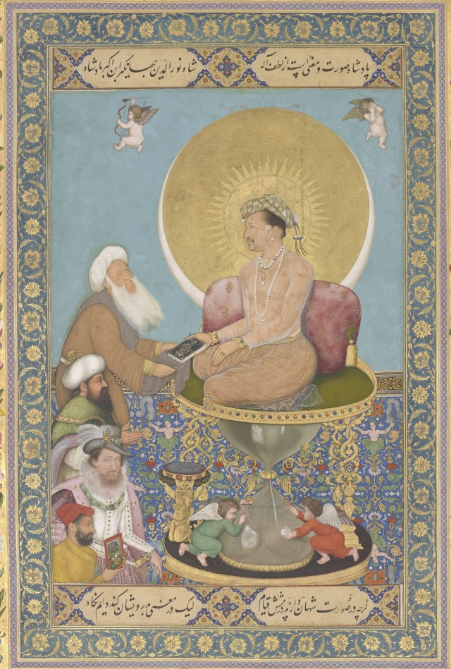 Jahangir Preferring a Sufi Shaikh to Kings from the St. Petersburg Album; Bichitr; India, Mughal Dynasty, 1615–18; F1942.15a