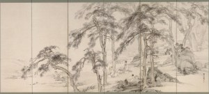 Ralph van Raat's recital features twentieth-century works by two prominent Asian composers, one born in China and the other in Japan. In a parallel way, this screen by a nineteenth-century Japanese painter incorporates Chinese aesthetics and philosophy. Two Chinese scholars enjoy music in a quiet grove, while attendants prepare their tea. Playing music on the qin (zither) was considered one of the four noble pursuits of the Chinese scholar, together with calligraphy, painting, and chess. The Japanese adopted this Chinese ideal, and the pleasures of rural life became a frequent theme for painters. At Ease in the Countryside: Scholars and Fishermen; Yamamoto Baiitsu (1783–1856); Japan, Edo period, 19th century; one of a pair of six-panel screens, ink and light color on paper; Purchase―Charles Lang Freer Endowment, Freer Gallery of Art, F1961.1-2