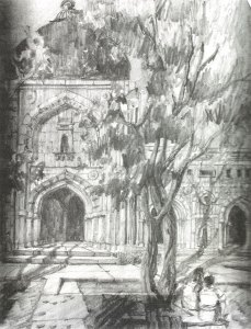Pencil drawing of a mosque