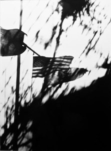 A black and white photo of an american flag in the distance, something in the foreground partially obscuring the view
