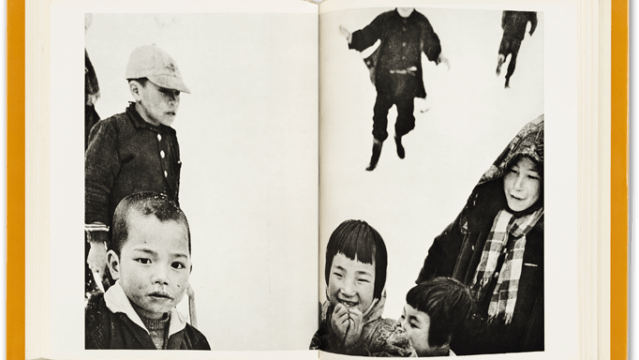 sample spread from Warabegoyomi photobook showing two pages of a book, a black and white photograph across both pages, with seveal chilren, one laughing, the others looking on