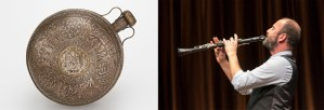 A thirteenth-century canteen from present-day Iraq and composer Kinan Azmeh playing the clarinet