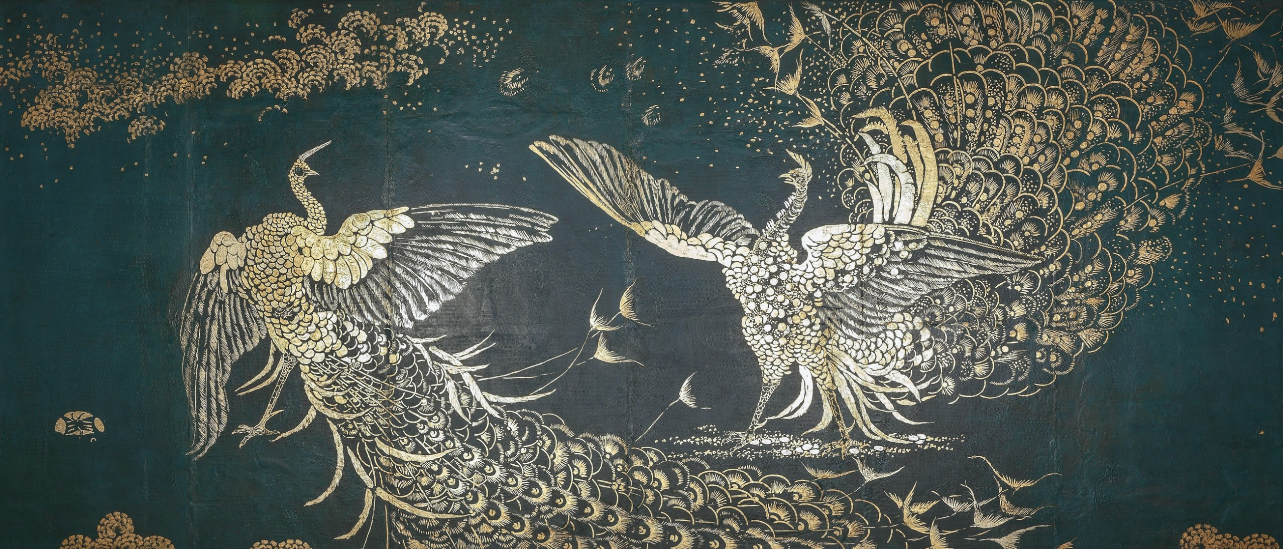 detail, fighting peacocks in the Peacock Room