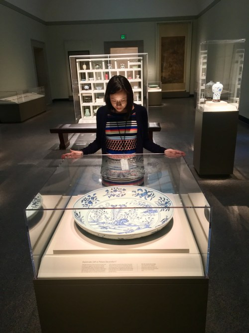 female standing behind a case, observing a blue and white dish