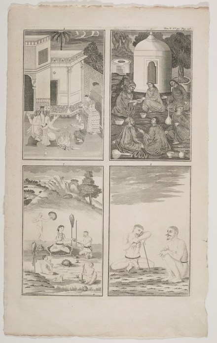 Brahma and Groups of Ascetics, after Indian paintings