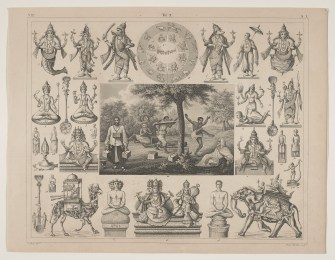 Many illustrations of Hindu personages