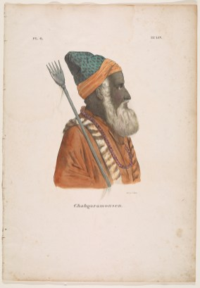 Portrait in profile of a sadhu