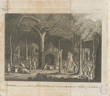 Print depicting ascetics performing various devotional activities around a pagoda with a large head inside.