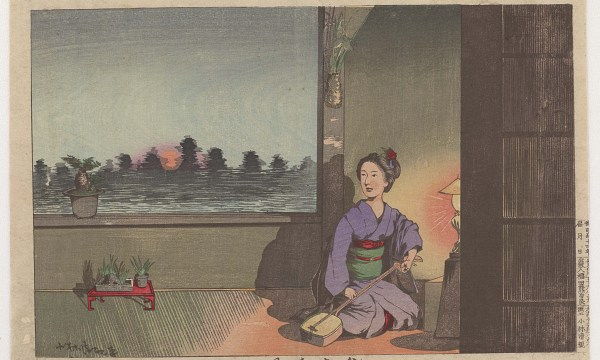 Geisha tuning her shamisen, illuminated by warm lamplight, as the sun sets in the cool sky beyond the window over her shoulder
