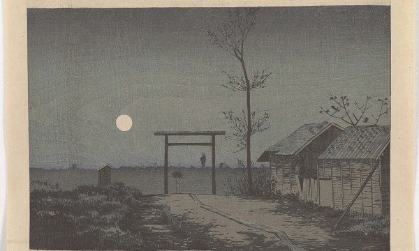 A deserted shrine near an area of ramshackle brothels in gray monotone, sky light by a full moon.