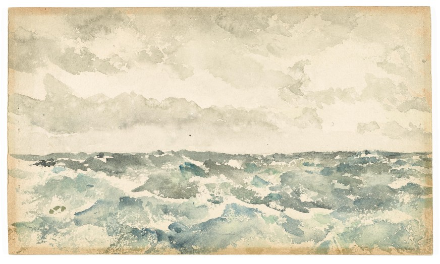 abstract watercolor of blue-green waves and gray cloudy skies