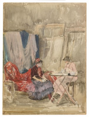Note in Pink and Purple–The Studio 1883–84 Watercolor on cold-pressed, wove paper F1902.163